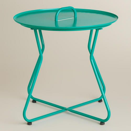 One of my favorite discoveries at WorldMarket.com: Blue Round Metal Tray Table