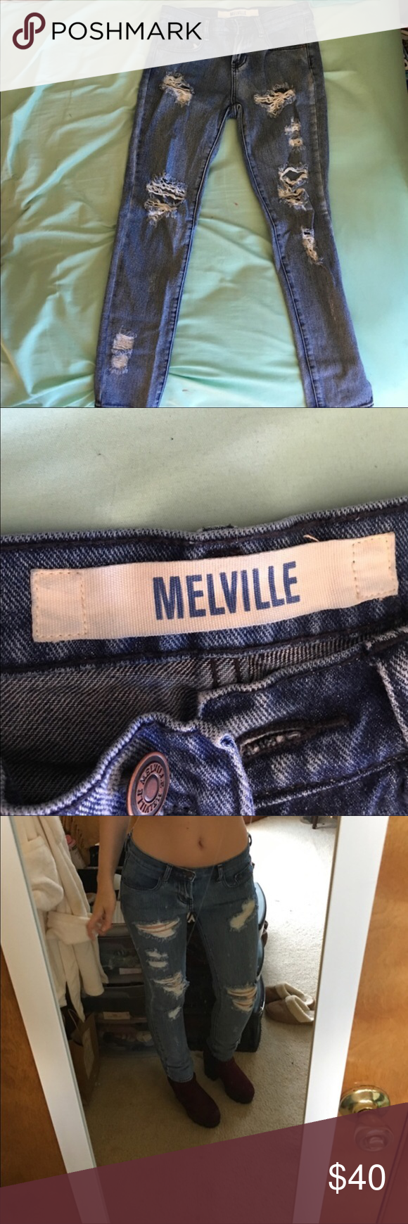 Destroyed denim jeans High waisted destroyed brandy Melville jeans Brandy Melville Jeans Skinny