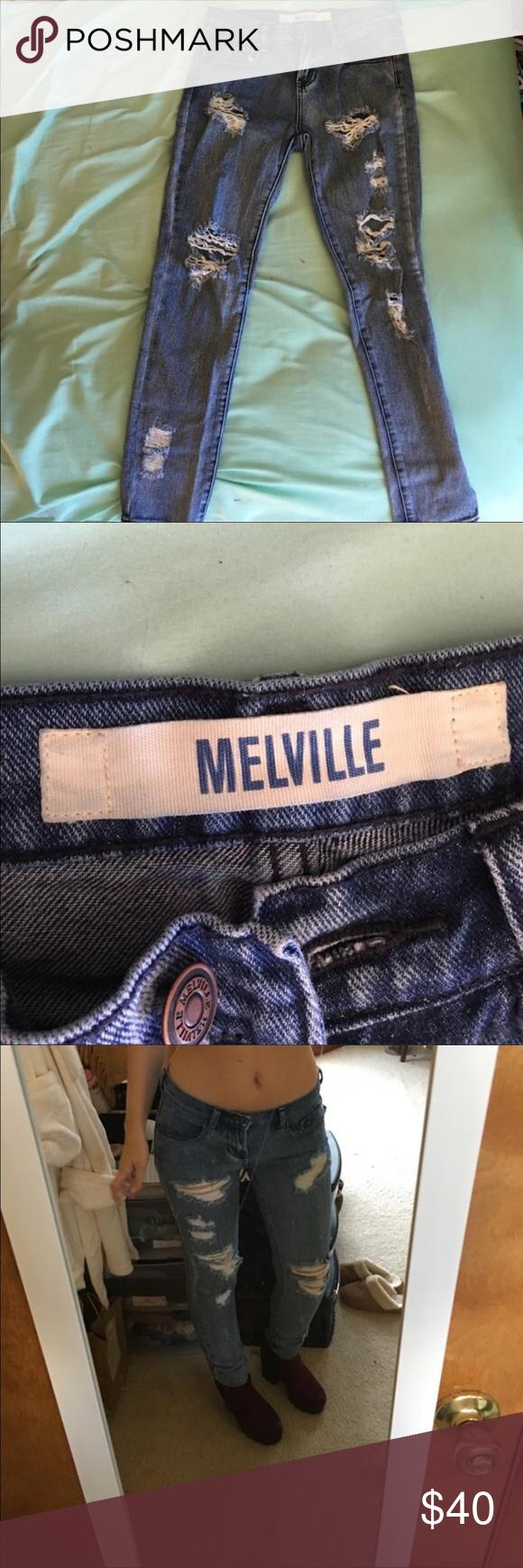 Destroyed denim jeans High waisted destroyed brandy Melville jeans Brandy Melville Jeans Skinny