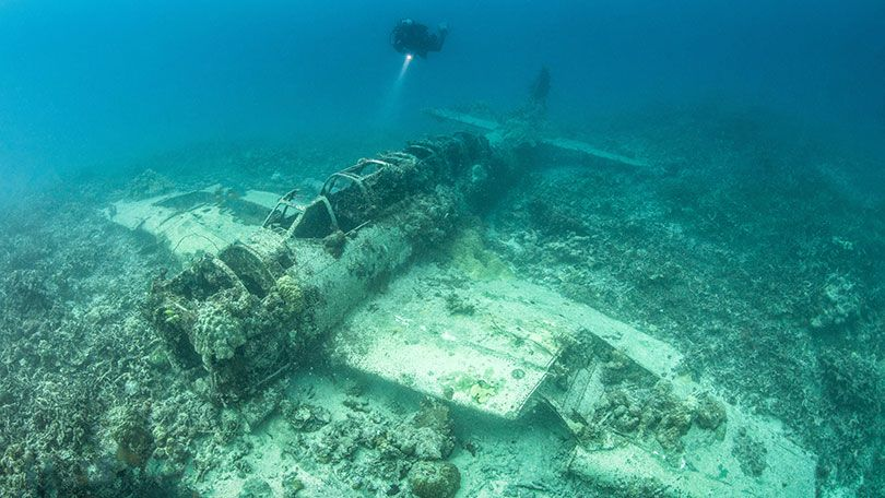 Sunken shipwrecks and crashed aircraft from the Second ...