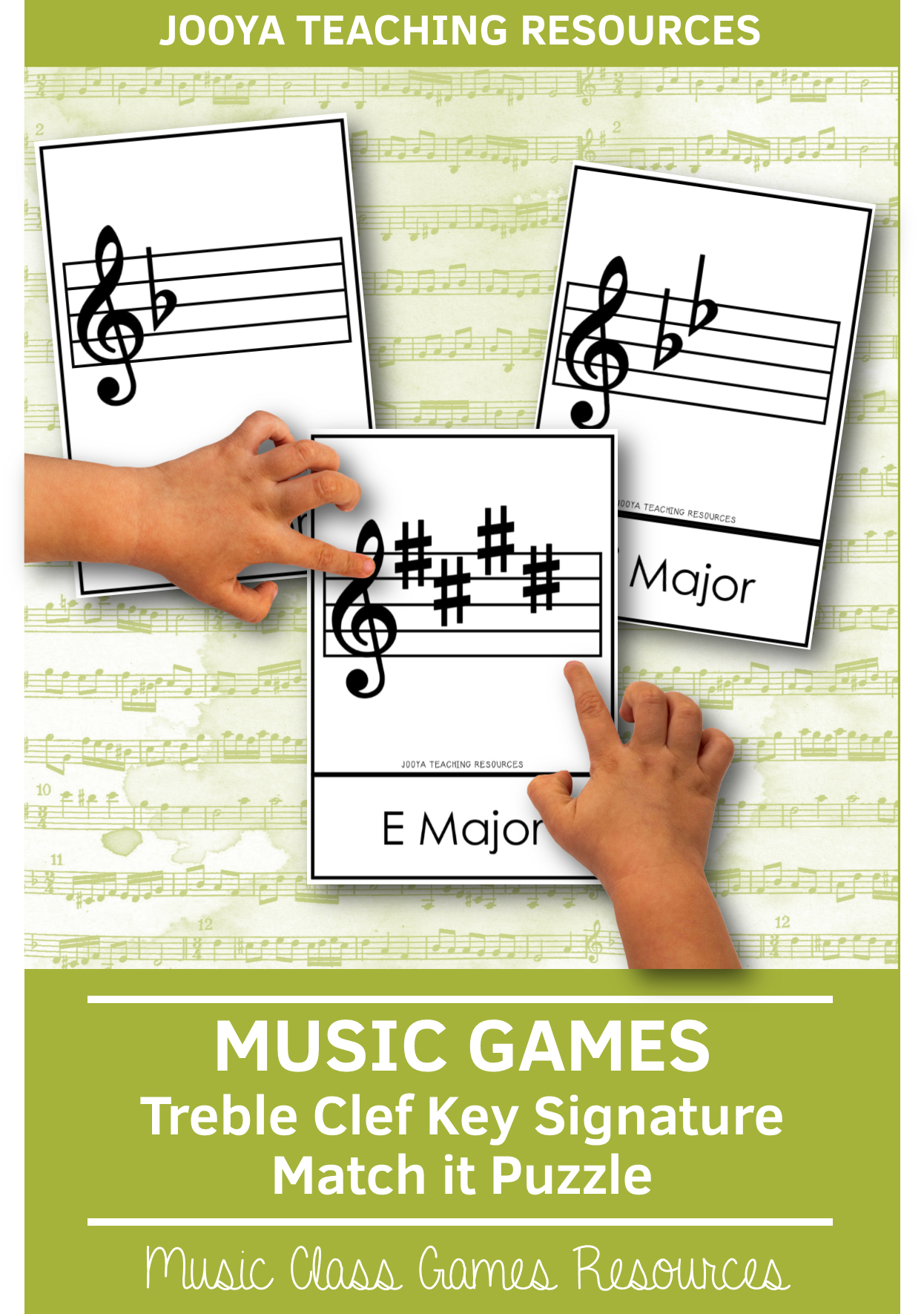 Treble Clef Key Signature Matching Activity In