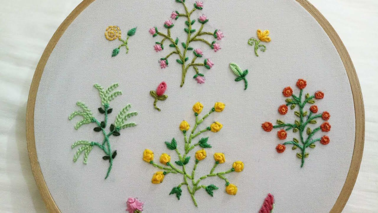 Hand Embroidery Designs Of 4 Different Small Flower Plants With Easy Sti In 2020 Hand Embroidery Designs Hand Embroidery Tutorial Hand Embroidery Videos