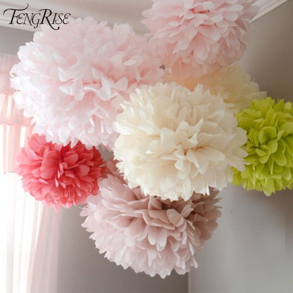 Fengrise Wedding Decoration Events 5 Pcs 20 25 30 Cm Pom Pom Tissue