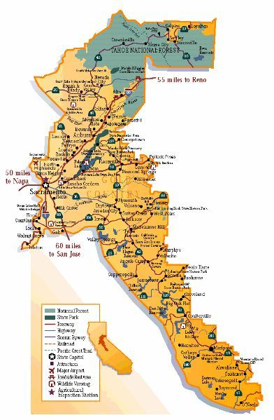 Gold Country California Map You Can Plan A Fun Trip Following The Trail Of The Gold Rush California Gold Rush California Trail Gold Rush