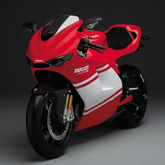 Ducati Desmosedici RR in red and white. Basically a pro racing bike with mirrors and turn signals.