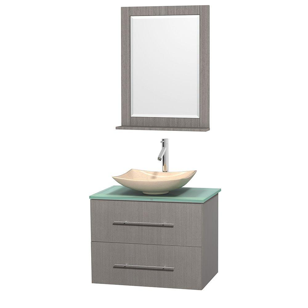 Wyndham Collection Centra 30 In Vanity In Gray Oak With Glass