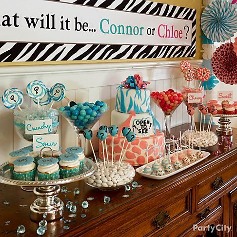 Wild Wonderful Safari Baby Shower Dessert Table With A Gender Reveal Theme Ra Baby Shower Gender Reveal Baby Gender Reveal Party Gender Reveal Party Food