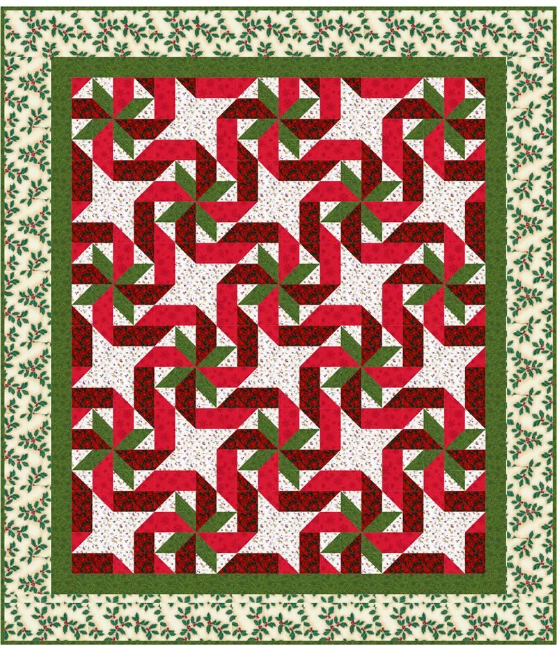 Done up in Christmas colors, the Gift Wrapped Quilt Pattern looks