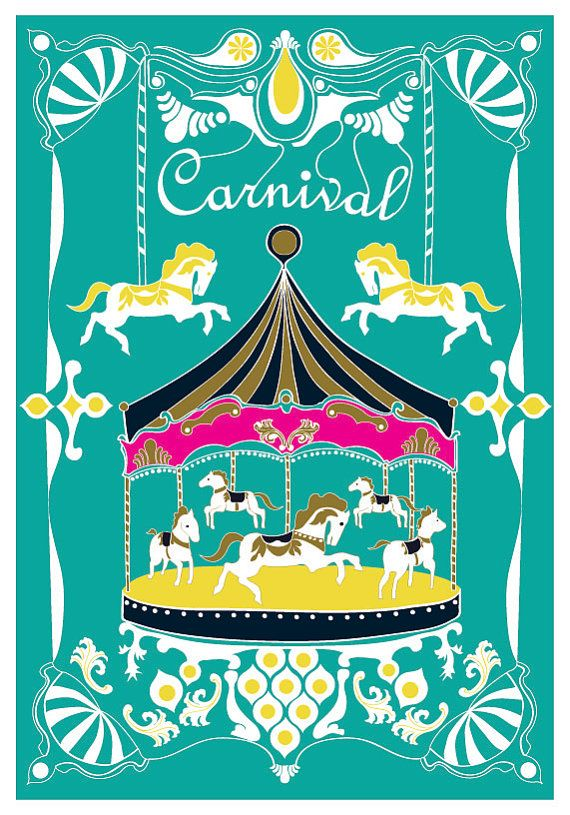 Merry Go Round Art Print Carnival Turquoise Illustration ...
