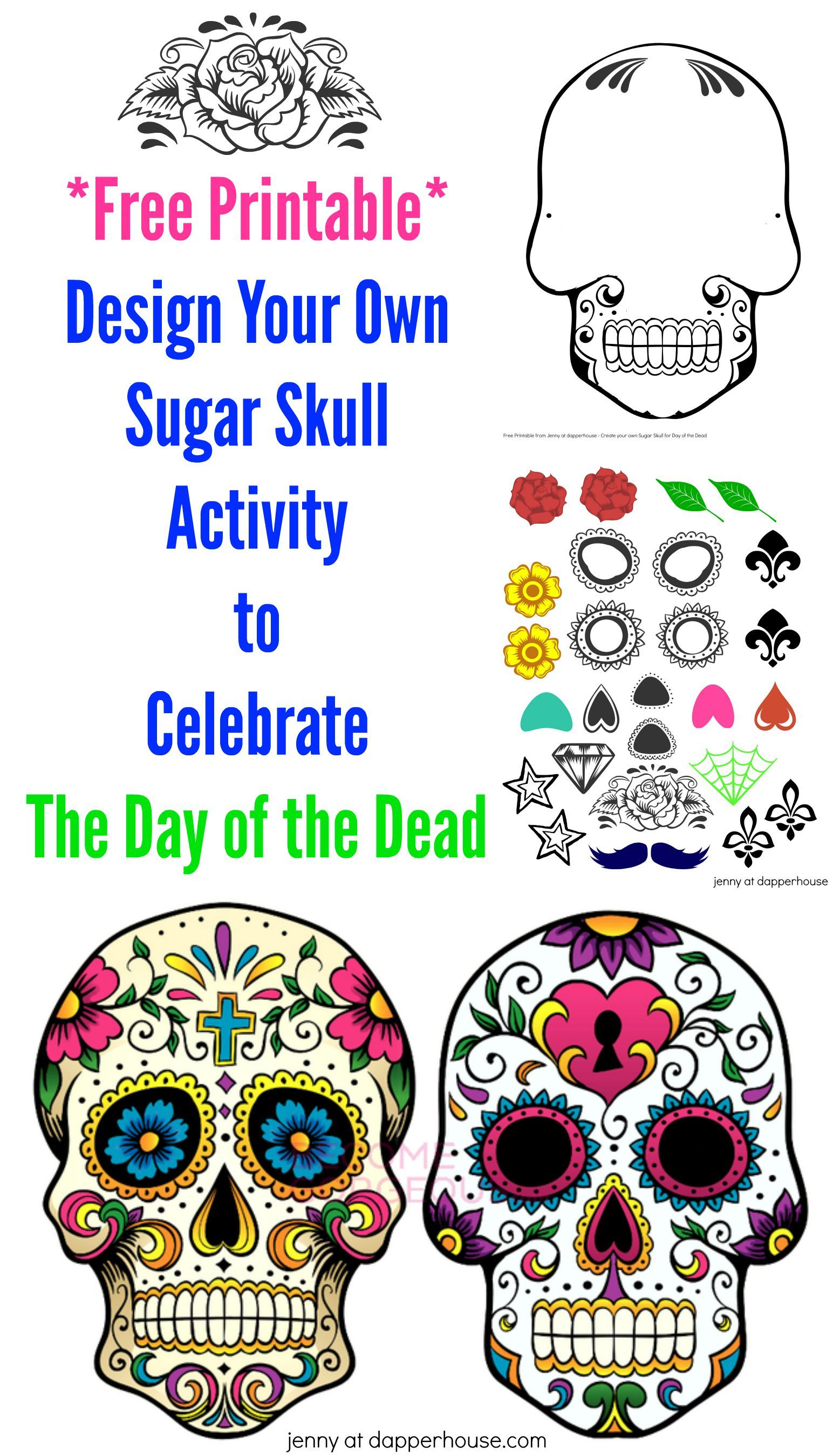 free printable design your own sugar skull activity for day of the dead coloreando. Black Bedroom Furniture Sets. Home Design Ideas