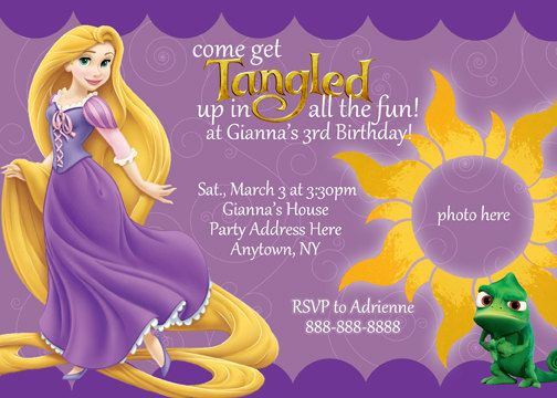 Tangled Rapunzel Invitation Digital File 4X6 or 5X7 600 via Etsy