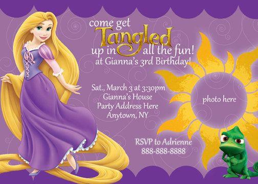 Rapunzel Tangled Invitation Printable Princess Birthday Party – Rapunzel Party Invitations