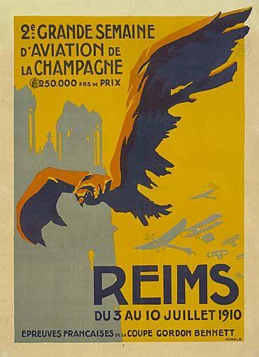2ème grande semaine d'aviation de la Champagne - Reims - 1910 - illustration de Harald -