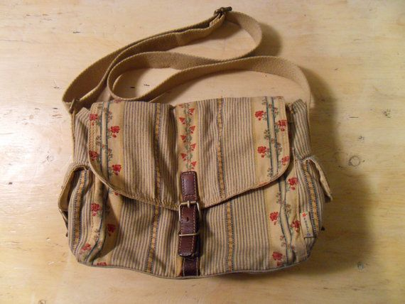Tan Stripes and Floral Design Canvas Fossil Shoulder Bag Purse