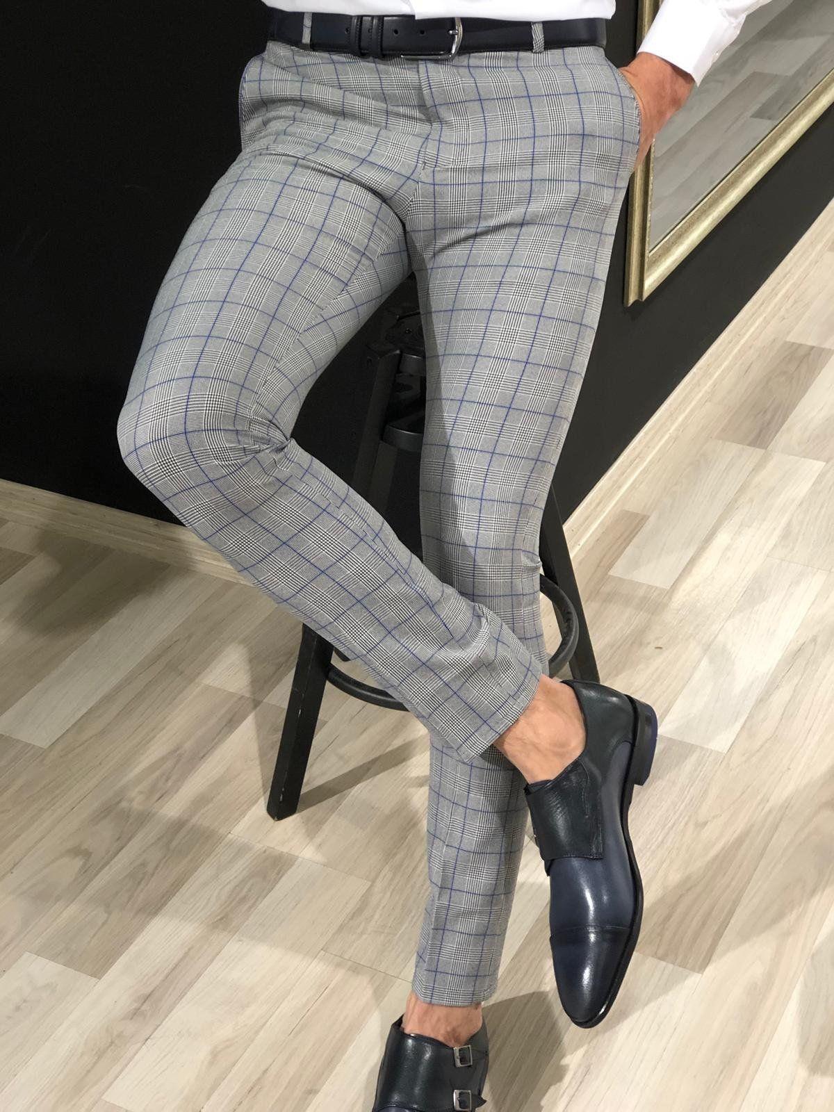 Ferra slim fit plaid pants in blue mens plaid pants