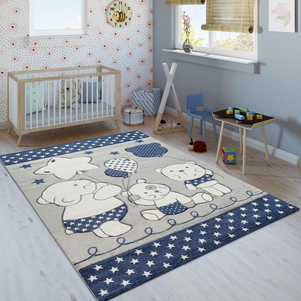 Kinderzimmer Teppich Bärenfamilie Sterne Blau in 2019