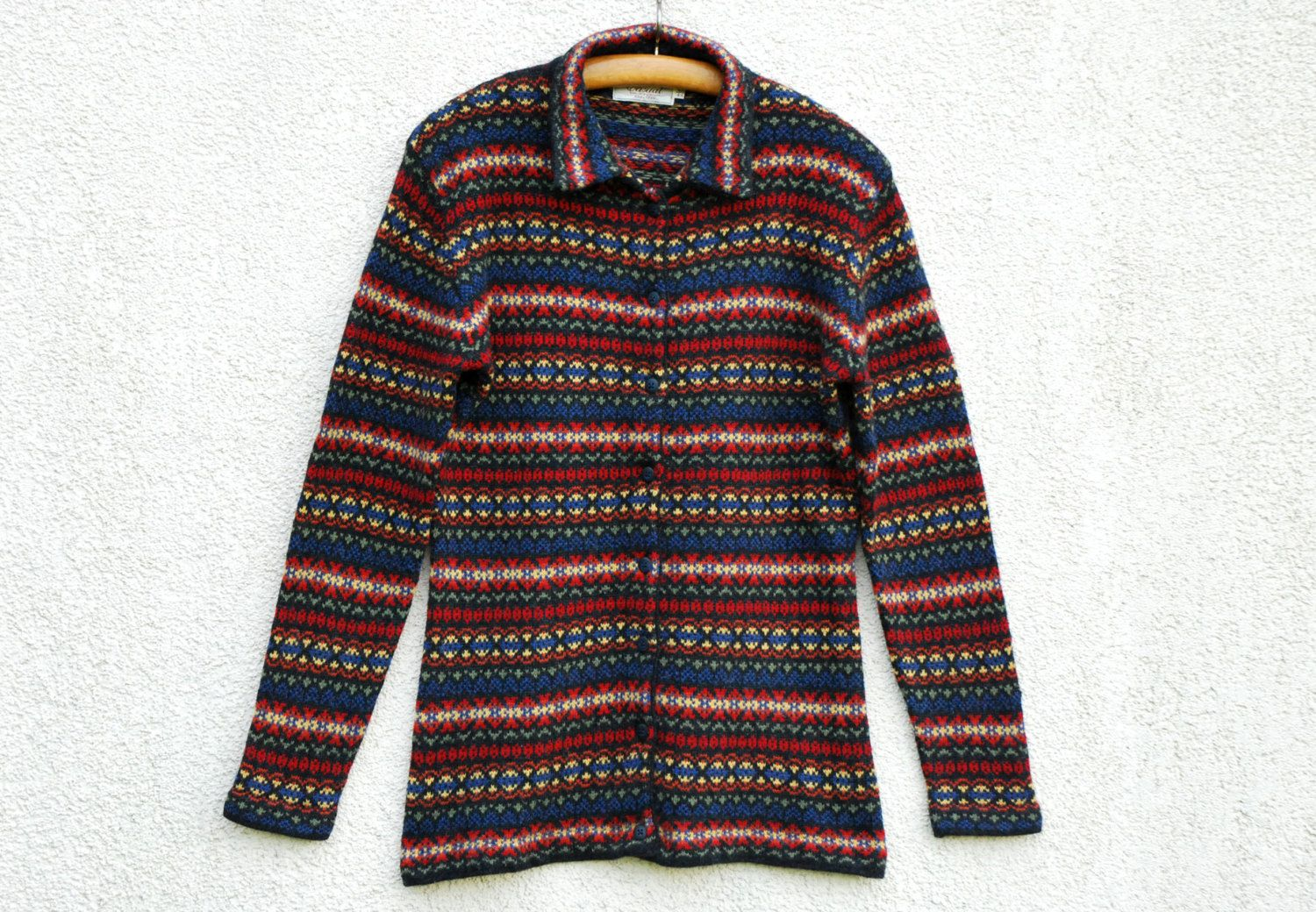Wool Cardigan, Multicolor Cardigan, Horizontally Striped Cardigan ...