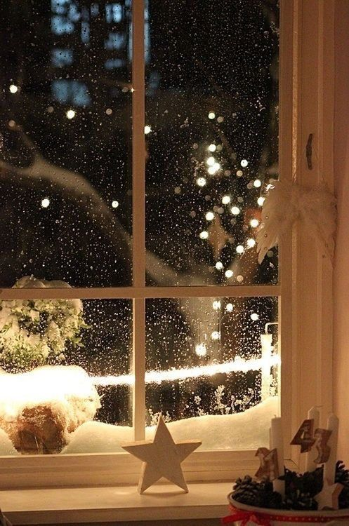 Christmas Snow Winter Holiday Lights Cold Warm December Cozy Star Window Candles Outside Snowing Snowflakes