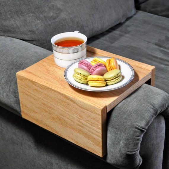 Custom Armrest Table Couch Armrest Chair Caddy Wood Tray Arm Rest Table Couch Table Table