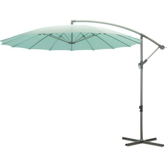 Praktikus függő napernyő, hogy legyen hova elbújni az erős napfény elől. Üde, nyarat idéző, világoskék, poliészter ernyőjét ezüst színű alumínium és acélból készült állvány tartja. A napernyő forgatható, így a neked legkedvezőbb helyekre tudod irányítani. Átmérője: kb. 300cm