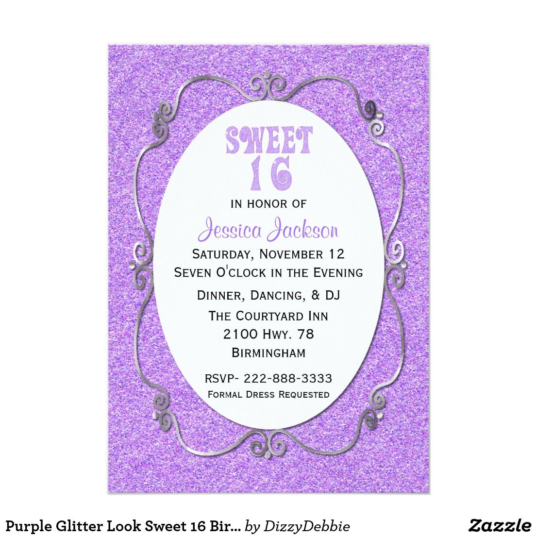 Purple Glitter Look Sweet 16 Birthday Invitation Pretty Custom Party Done In Graphics Of A Looking Background