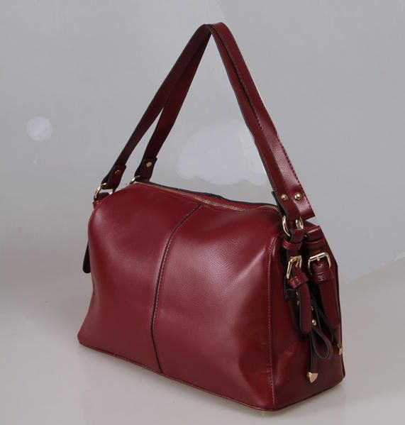 Red Pu Leather Asian Fashion Handbag With Practical Compartments
