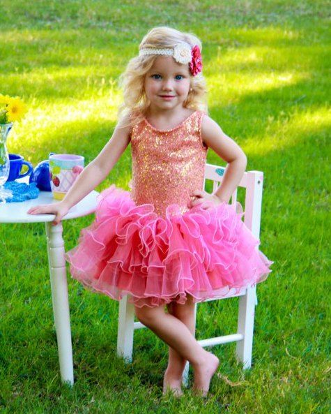 fd8615cfa Dolls & Divas Amy Coral & Gold Sequin Tutu Dress from The Couture Baby