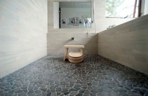 Traditional Japanese Bath Beautiful Pebble Stone Flooring