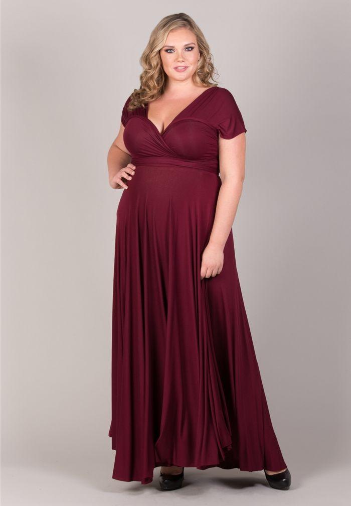 Plus Size Eternity Maxi Convertible Dress in Burgundy A marsala ...