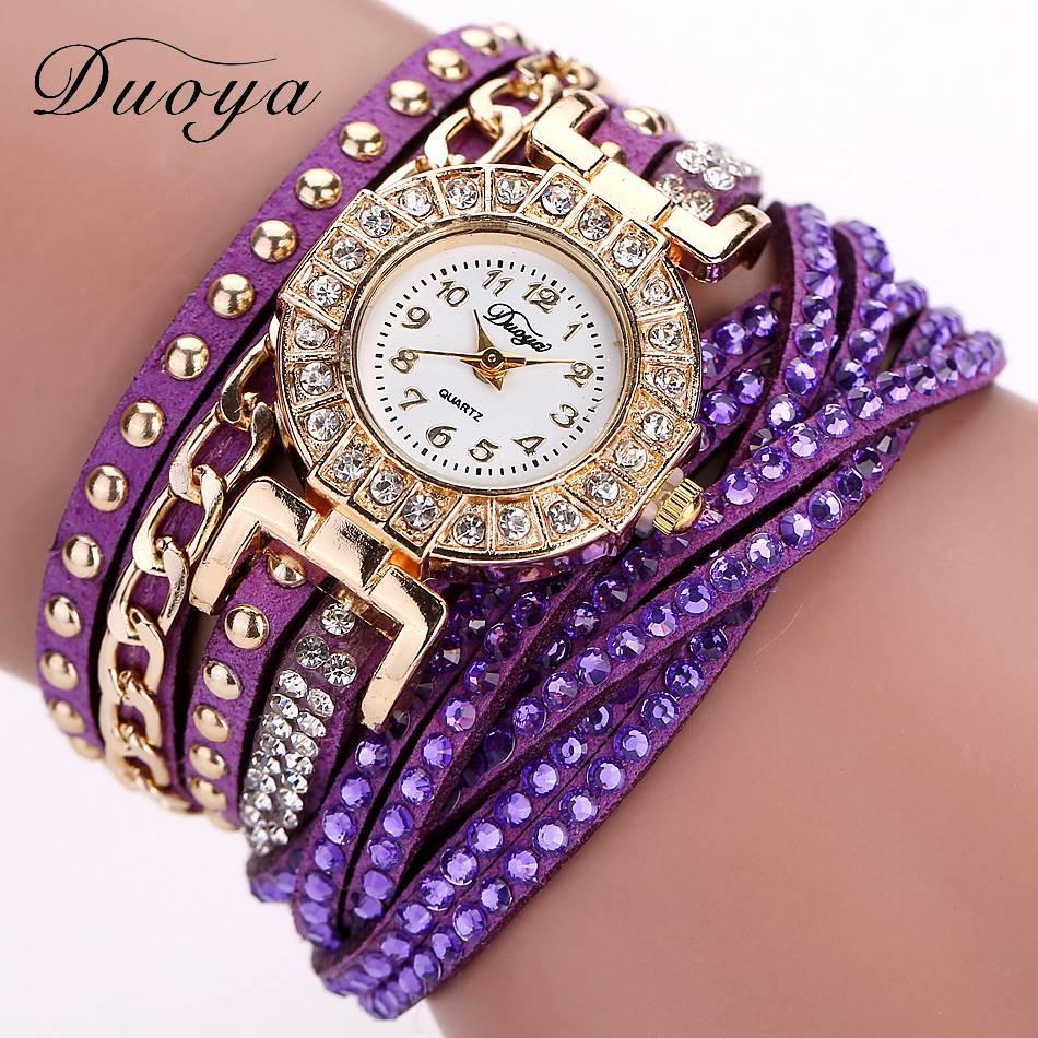 9889121896722 Duoya Watch Women Brand Luxury Gold Fashion Crystal Rhinestone ...