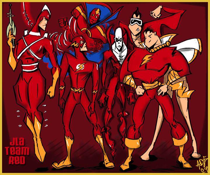superheroes   Justice League – JLA team RED