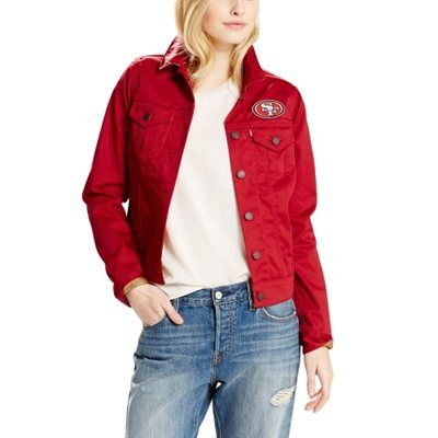 Women's San Francisco 49ers Levi's Scarlet Twill Trucker Button-Up Jacket