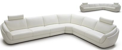 Vig Furniture Divani Casa Calla 1377 Modern White Full Leather Sectional Sofa