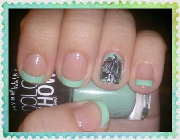 Mint French Nail Art by Love4Beauty - Nail Art Gallery ...