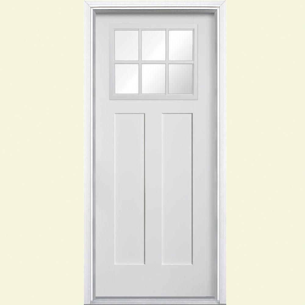 Masonite Craftsman 6 Lite Primed Smooth Fibergl Entry Door With Brickmold 27141 At The Home Depot Masoniteinteriordoors