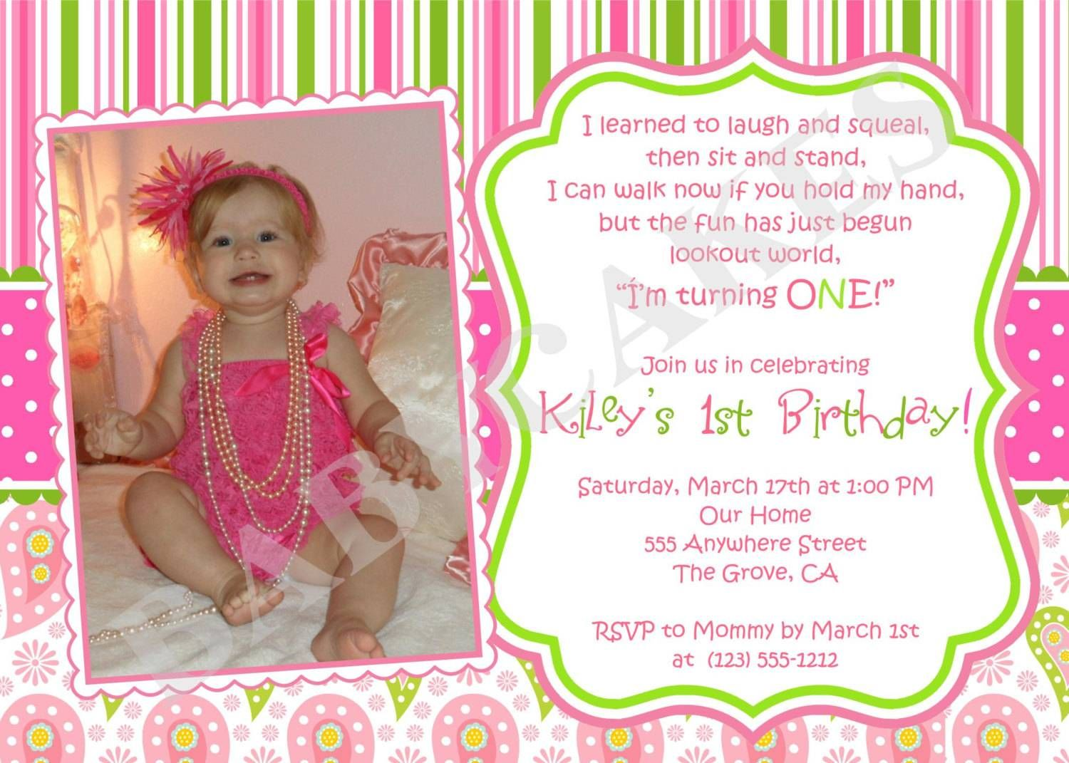 Baby Girl 1st Birthday Invitations Asees
