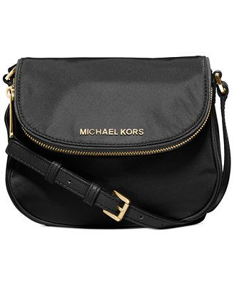 e83b9a9cd0d6 MICHAEL Michael Kors Bedford Nylon Flap Crossbody, Navy/Gold or Dusk/Gold