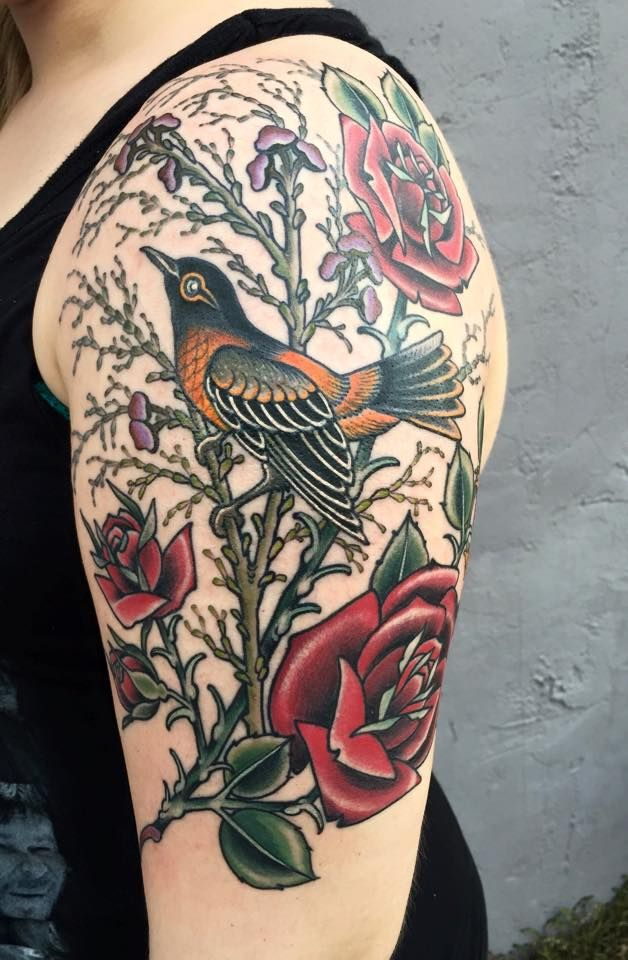 My First Oriole Roses By Chelsea Rhea At Amulet Tattoos In St Petersburg Fl Imgur