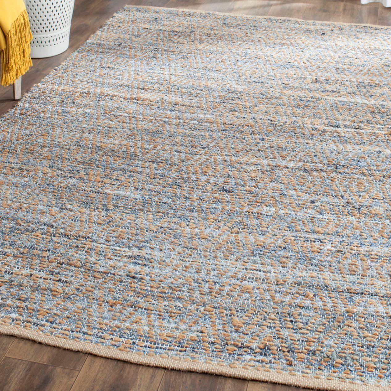 Gilchrist Striped Handmade Flatweave Natural Blue Rug Rugs Area Rugs Lanai Decorating