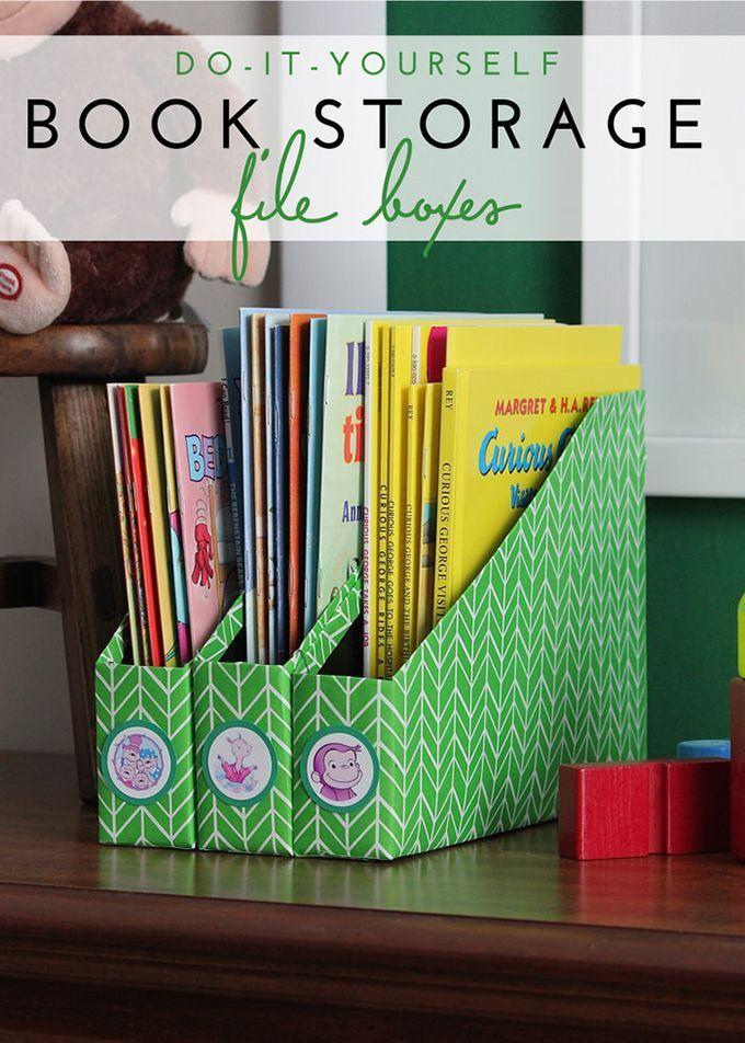 Diy Book Storage Using Cereal Boxes Moveis De Madeira