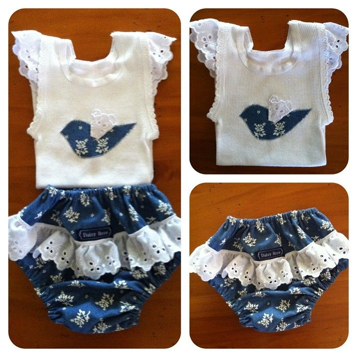 Girls nappy cover and singlet set - by DaisyRose on madeit