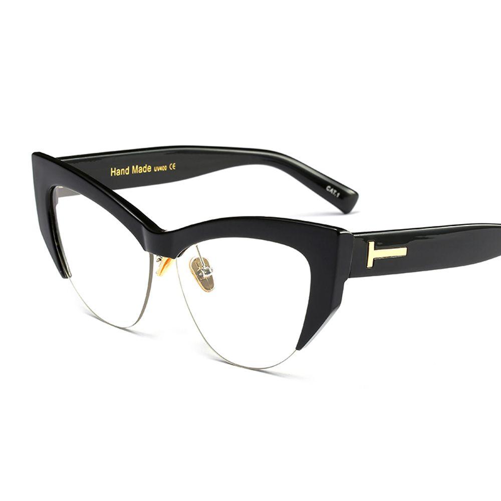 ceced0bc26 Peekaboo transparent cat eye glasses frames for women 2018 black leopard  beige semi rimless half rim eyeglasses frame women  Buy It Now