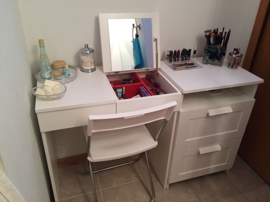 My Diy Make Up Vanity Using Ikea Brimne Dressing Table Drawer Set Pic 2 Made By Me