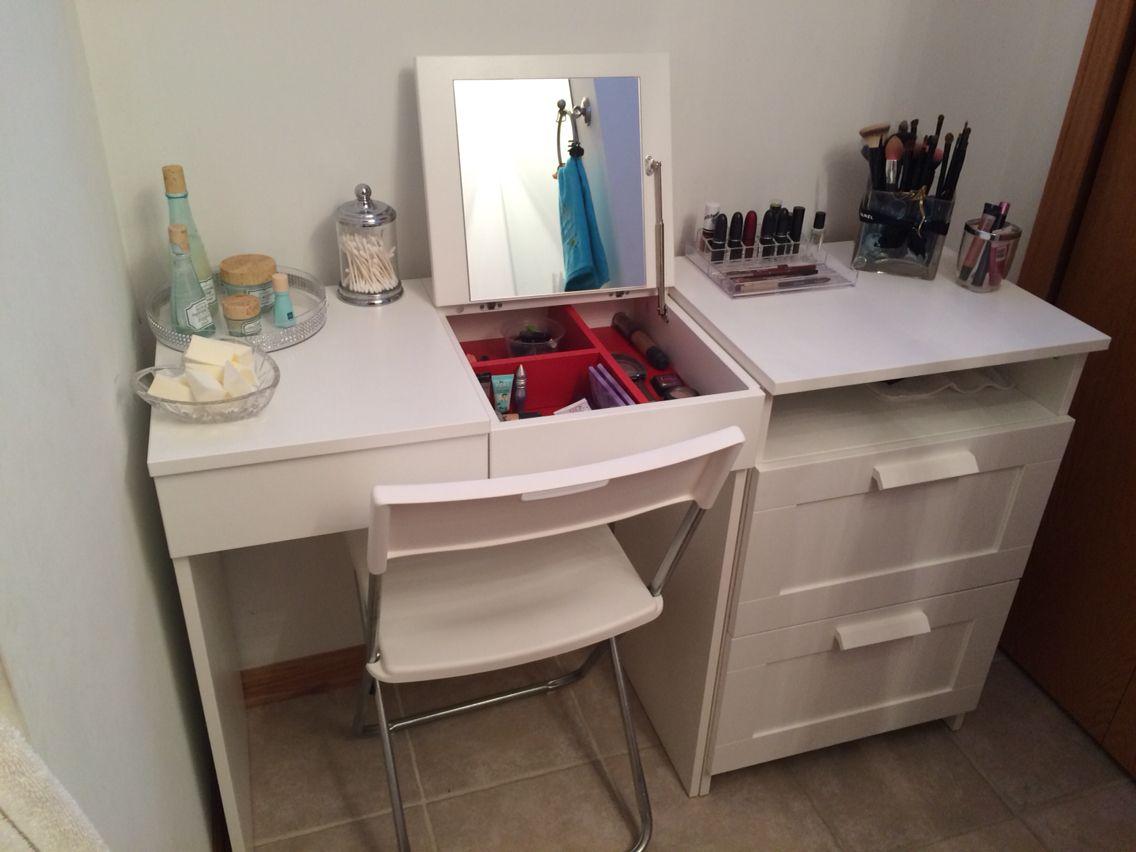 My Diy Make Up Vanity Using Ikea Brimne Dressing Table Drawer Set Pic 2 Bedroom Vanity Ikea Bedroom Vanity Ikea Dressing Table