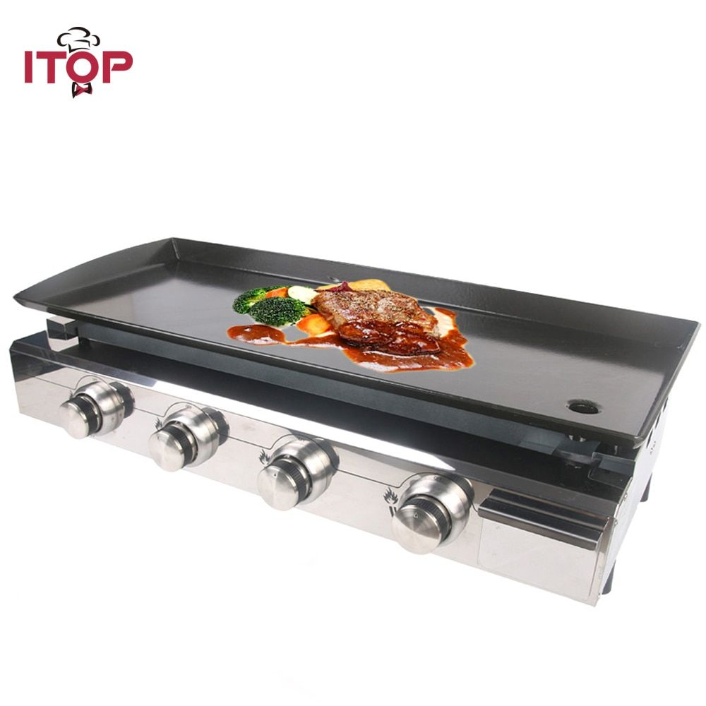 Buy Itop 4 Burners Gas Plancha Bbq Grills Outdoor Barbecue Tools Non Stick Cooking Hot Plates Heavy Duty Machine Bbq Griddle Barbecue