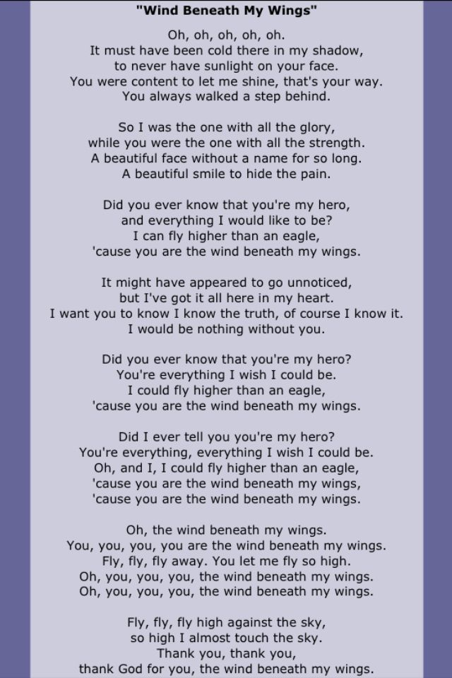 My mom's favorite song!!! She was the wind beneath my wings!!! RIP Mom!!!