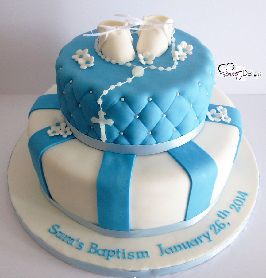 Fondant Cake For Baptism : Baby Boy Baptism Cake with Fondant Booties Party Cakes ...