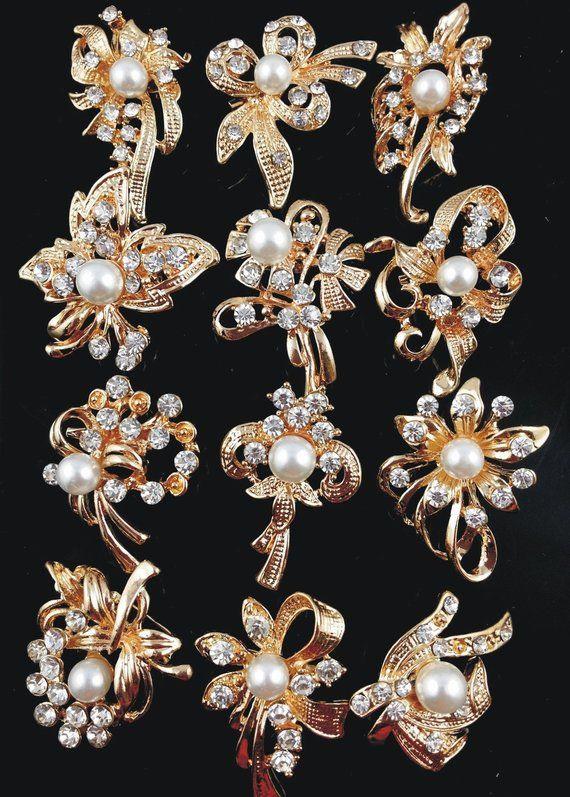 536e1dd7e 12PCS Gold Crystal Rhinestone Brooch Pins Wedding Bouquet Brooch Wedding  Gift Decor Invitation Embel