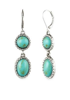 Nine West Vintage America Collection  Worn Silver-Tone Turquoise Leverback Double Drop Earring