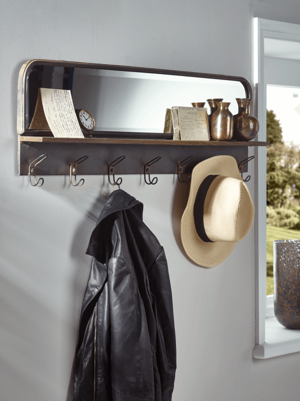 industrial hook rack with mirror storage shelves hooks storage rh pinterest co uk
